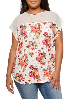 Plus Size Floral Mesh Yoke Top with Necklace - IVORY - 9429058758138