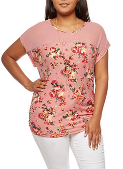 Plus Size Floral Mesh Yoke Top with Necklace - MAUVE - 9429058758138
