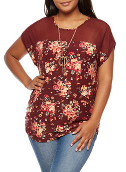 Plus Size Floral Mesh Yoke Top with Necklace - BURGUNDY - 9429058758138