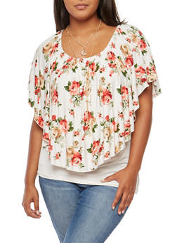 Plus Size Floral Overlay Off the Shoulder Top with Necklace - 9429058759750