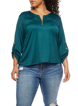 Plus Size Stretch Knit Top - 9429062704399
