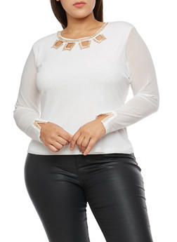 Plus Size Long Sleeve Mesh Top with Rhinestone Detail - IVORY - 9429062705385