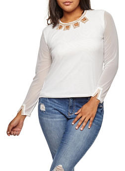 Plus Size Mesh Top with Rhinestone Detail - IVORY - 9429062706385