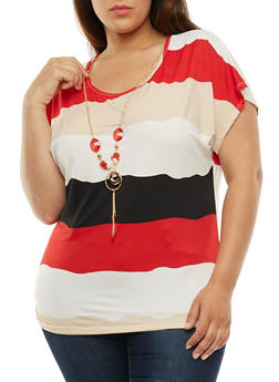 Plus Size Color Block T Shirt with Necklace - 9429062706421