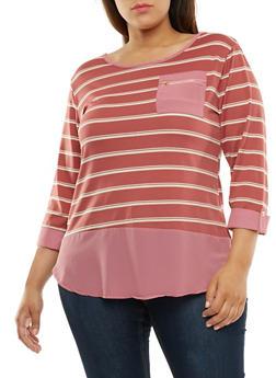 Plus Size Striped Three Quarter Sleeve Top - 9429062706490