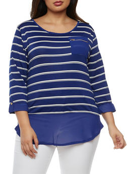 Plus Size Striped Three Quarter Sleeve Top - 9429062706490