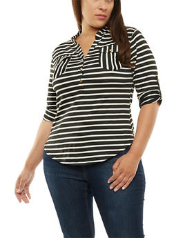Plus Size Striped Pocket Henley Top - 9429062706491