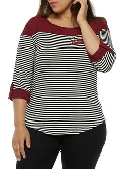Plus Size Striped Top with Contrast Crepe Trim - 9429062706492