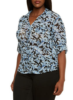 Plus Size Mesh Button-Up in Rococo Print - 9429067955169