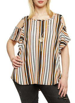 Plus Size Cold Shoulder Striped Top with Necklace - 9429072246198