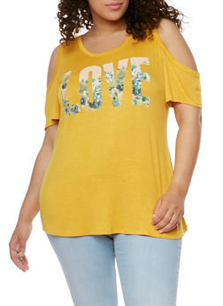 Plus Size Cold Shoulder Floral Love Graphic T Shirt - 9429073414338