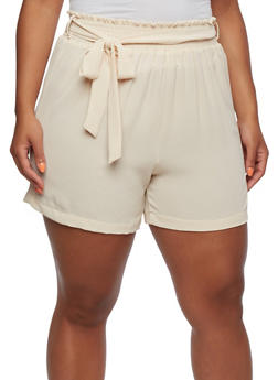 Plus Size High-Waisted Shorts with Smocked Waist and Self-Tie Belt - 9436020623773