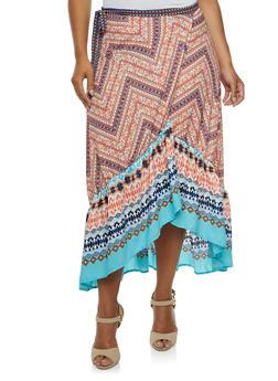 Plus Size Printed Wrap Skirt with Ruffle Hem - 9437020624689
