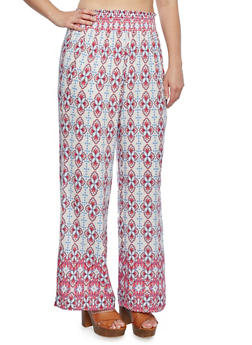 Plus Size Palazzo Pants with Smocked Waist and Ornate Print - 9437020626335