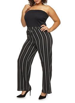 Plus Size Striped Crepe Knit Palazzo Jumpsuit - 9441020623925