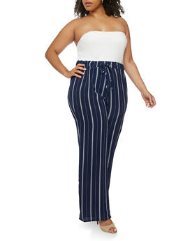 Plus Size Striped Crepe Knit Palazzo Jumpsuit - 9441020623925