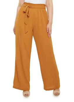 Plus Size Crepe Pants with Smocked Waist - 9441020624763