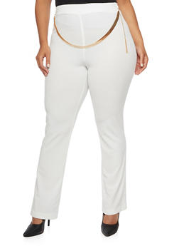 Plus Size Stretch Pants with Chain Belt - 9441020626347