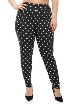 Plus Size Polka Dot Stretch Pants - 9441020627232
