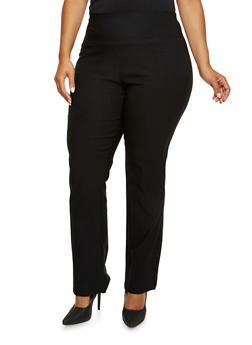 Plus Size Stretch Twill Pants with High Waist - 9441020627338