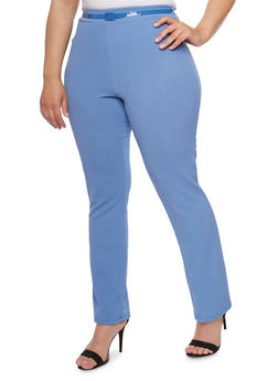 Plus Size Solid Belted Pants - 9441020628734
