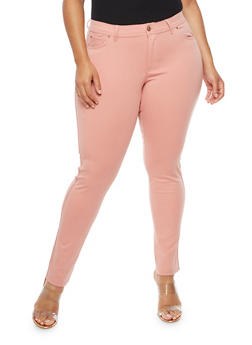 Plus Size Solid Stretch Push Up Pants - 9441054269412