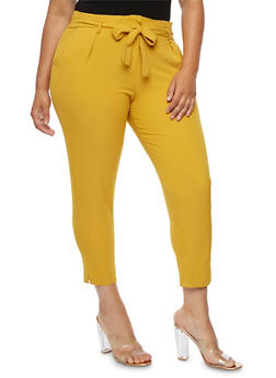 Plus Size Crepe Knit Tie Waist Pants - MUSTARD - 9441062707808