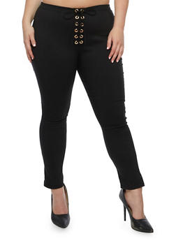 Plus Size Solid Lace Up Pants - BLACK - 9441074015728