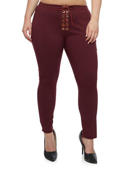 Plus Size Solid Lace Up Pants - BURGUNDY - 9441074015728