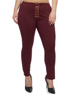 Plus Size Solid Lace Up Pants - 9441074015728