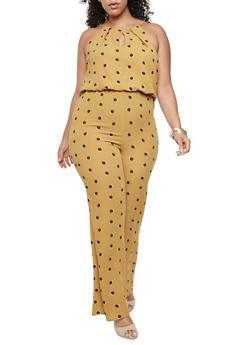 Plus Size Polka Dot Crepe Knit Jumpsuit - MUSTARD - 9442020625222