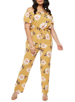Plus Size Floral Off the Shoulder Jumpsuit - 9442020625223