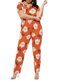 Plus Size Floral Off the Shoulder Jumpsuit - 9442020625223