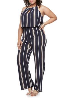 Plus Size Striped Crepe Knit Jumpsuit - NAVY - 9442020625229