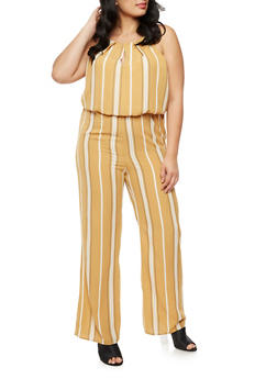 Plus Size Striped Crepe Knit Jumpsuit - 9442020625229