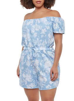 Plus Size Floral Off the Shoulder Romper - 9443020622246