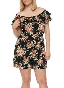 Plus Size Off the Shoulder Floral Romper - 9443020626653