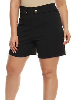 Plus Size Solid Tab Button Shorts - 9443020626780