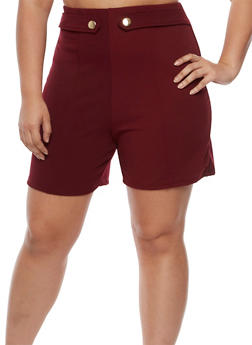 Plus Size Solid Tab Button Shorts - BURGUNDY - 9443020626780