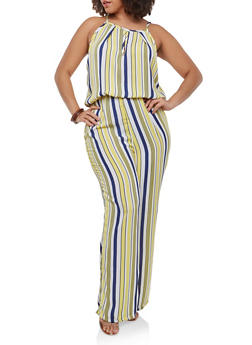 Plus Size Striped Jumpsuit - 9443020626956