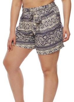 Plus Size Printed Shorts with Tie Waist - 9443020627818
