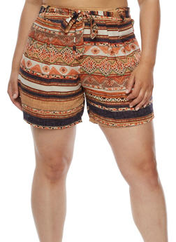 Plus Size Printed Shorts with Tie Waist - ORANGE - 9443020627818
