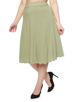 Plus Size Solid A Line Midi Skirt - 9444020620808