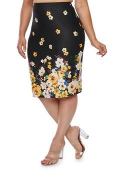 Plus Size Floral Pencil Skirt - 9444020621644