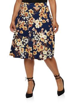 Plus Size Floral Crepe Knit Circle Skirt - 9444020622043