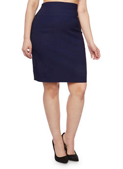 Plus Size Solid Pencil Skirt - 9444020622225