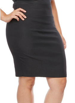 Plus Size Solid Skirt with Back Slit - 9444020622244