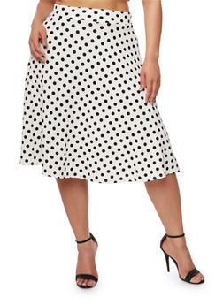 Plus Size Polka Dot Midi Skater Skirt - IVORY - 9444020623044