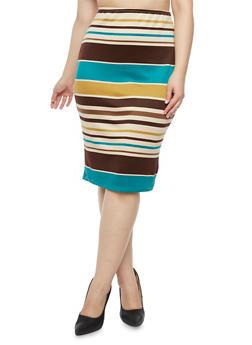 Plus Size Striped Pencil Skirt - 9444020624385
