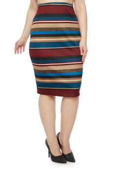 Plus Size Striped Pencil Skirt - 9444020624385